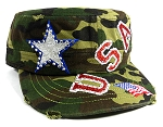 Wholesale USA Rhinestone Women's Cadet Hats - Green Camo