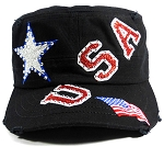 Wholesale USA Rhinestone Women's Cadet Hats - Black