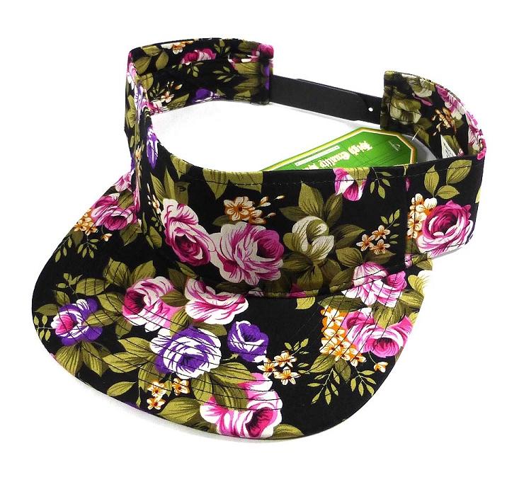 Flatbill Blank Snapback Visors Wholesale - Black Floral Caps d631a04fdc3