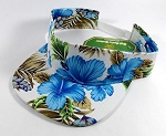 Flatbill Blank Snapback Visors Wholesale - Hawaiian Flowers Caps White