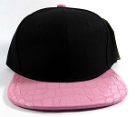 Wholesale Blank Alligator Snapback Hats Caps - Black | Pink