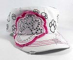 Wholesale Bling Paw Print Cadet Caps - White Pink