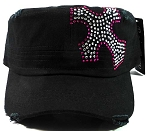 Wholesale Rhinestone Cross Vintage Cadet Hats - Black