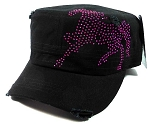 Wholesale Cowgirl Rhinestone Horse Cadet Hats - Black