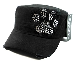 Rhinestone Paw Print Cadet Hats Wholesale - Black