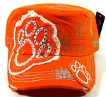 Bling Paw Print Cadet Hats Wholesale - Orange