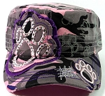 Bling Paw Print Cadet Hats Wholesale - Pink Camo & Purple Trim