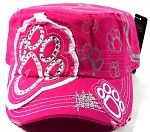 Bling Paw Print Cadet Caps Wholesale - Hot Pink