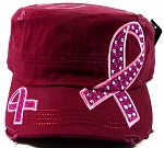 Rhinestone Breast Cancer Pink Ribbon Cadet Hats Wholesale - Burgundy