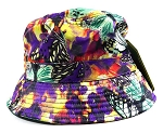 Wholesale Fashion Bucket Hats - Mixed Paint Butterflies | Purple