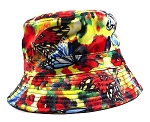 Wholesale Fashion Bucket Hats - Mixed Paint Butterflies | Red