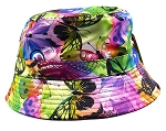 Wholesale Fashion Bucket Hats - Butterfly Rainbow - Pink