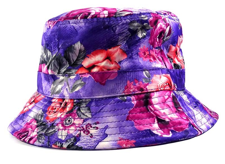 Wholesale Fashion Bucket Hats - Purple   Pink Roses 8db8a574bff