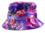Wholesale Fashion Bucket Hats - Purple & Pink Roses