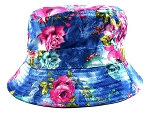 Wholesale Fashion Bucket Hats - Blue & Pink Roses