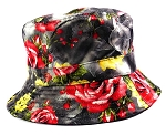 Wholesale Fashion Bucket Hats - Black & Red Roses