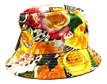 Wholesale Fashion Bucket Hats - Yellow & Orange Roses