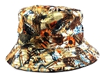 Wholesale Fashion Bucket Hats - Flowers Brown