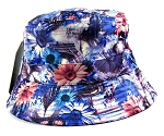 Wholesale Fashion Bucket Hats - Daisy Flowers Blue