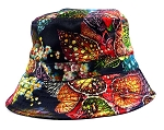 Wholesale Fashion Bucket Hats - Floral Leaves | Navy
