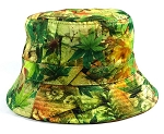 Wholesale Fashion Bucket Hats - Vintage Leaves Green
