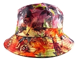 Wholesale Fashion Bucket Hats - Vintage Leaves Orange