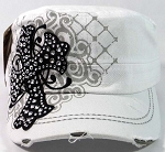 Rhinestone Cross Fashion Cadet Hats Wholesale - White