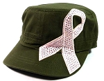 Bling Pink Ribbon Breast Cancer Cadet Hats Wholesale - Olive Green