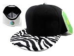 Animal Print Zebra Snapback Hats Caps Wholesale - White Under Brim (Polyester)