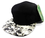 5-Panel Blank Floral Camp Caps Hats - White & Black Roses