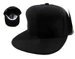 Blank Black Snapback Caps Hats Wholesale - Black Under Bill