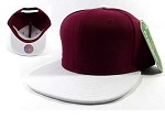Wholesale Blank Snapback Hats & Caps - Burgundy | White Brim
