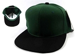 Wholesale Blank Snapback Hats & Caps - Hunter Green | Black Brim