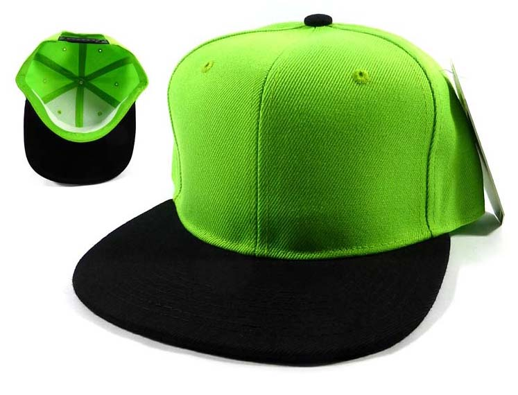a93544d9689 Whole Blank Snapback Hats Caps Lime Green Black Brim