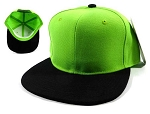 Wholesale Blank Snapback Hats & Caps - Lime Green | Black Brim