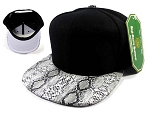 Junior Kids Blank Snakeskin Snapback Hats Wholesale - Python | White Under Brim
