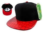 Junior Kids Blank Alligator Snapback Hats Wholesale - Croc | Red Under Brim