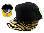 Blank Zebra Snapback Hats Caps Wholesale - Gold | Yellow Under Brim-sh