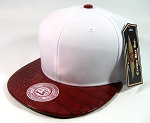 Blank Vintage Alligator Skin Snapback Hats Wholesale | White Burgundy