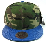 Blank Vintage Alligator Skin Snapback Hats Wholesale | Camouflage Blue