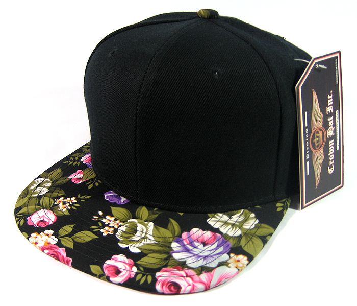 Blank Vintage Floral Snapback Hats Wholesale - Black Brim | Large Flower