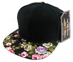 Blank Vintage Floral Snapback Hats Wholesale - Black Brim | Large Flower
