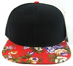 Blank Vintage Floral Snapback Hats Wholesale - Red Brim | Large Flower