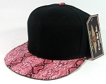 Blank Python Snakeskin Retro Snapback Hats Wholesale | Black Red