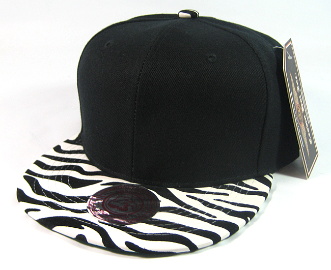 Royal Blue Zebra Animal Print Vintage Snap back Classic Flat Bill Hat Cap Hats