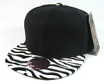 Blank Zebra Print Retro Snapback Hats Wholesale | Black