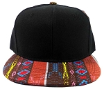 Wholesale Blank Aztec Snapback Caps - Native Pattern Brim Brown