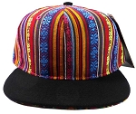 Wholesale Blank Aztec Snapback Hats - Multicolored Pattern - Black Brim