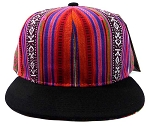 Wholesale Blank Aztec Snapback Hats - Multicolored Pattern Purple - Black Brim