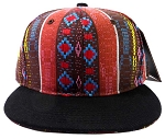 Wholesale Blank Aztec Snapback Hats - Multicolored Pattern Brown - Black Brim